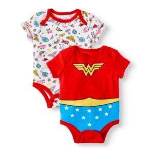 Wonder Woman Baby Onepiece Bodysuit Set, Newborn
